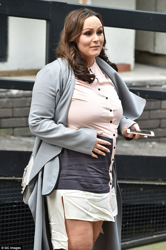 Fashionista:The former Big Brother star proved her sense of style had not faltered in pregnancy as she displayed her blossoming bump in a chic striped shift dress