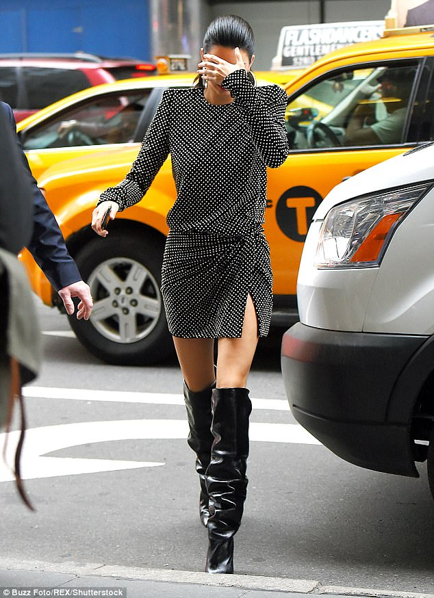 Model stats:Dressed in a chic polka dot dress, the reality star turned model showcased her enviable figure