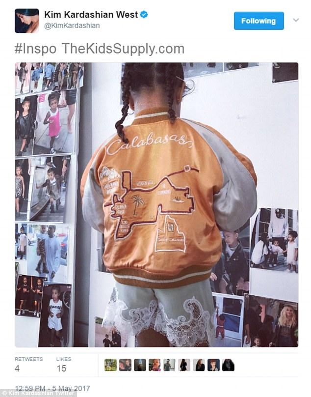 Representing: Kim was quite active on social media pushing the new line as she even shared this cute photo of daughter North modelling a silk bomber jacket from the collection