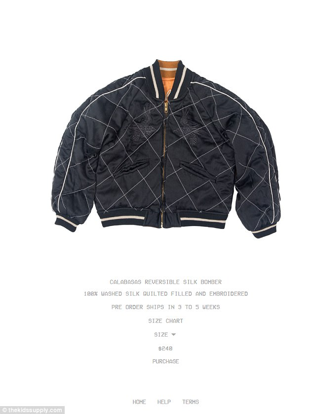 Pretty penny: The priciest piece of the entire kids collection is a reversible silk souvenir bomber jacket which retails for $240