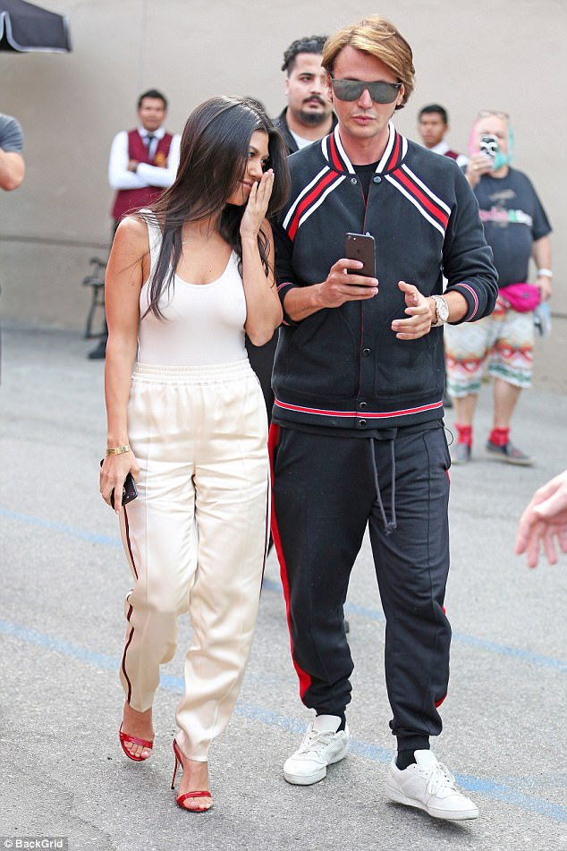 LOL: The pals shared a laugh as they appeared to be filming for Keeping Up With The Kardashians