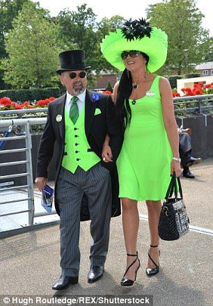 A couple co-ordinate in lime green at the first day of Royal Ascot