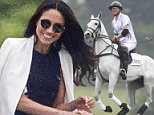 Prince Harry was joined by his American girlfriend Meghan Markle during an afternoon of horseplay at an exclusive polo event in Ascot today