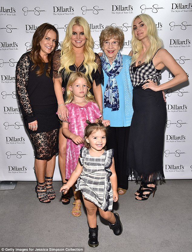 Four generations: Jessica posed at one point with Maxwell, Jessica's sister Ashlee Simpson, Ashlee's daughter Jagger, Jessica and Ashlee's mother Tina and Tina's mother Dorothy