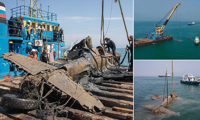 WWII fighter plane is pulled from the Kerch Strait