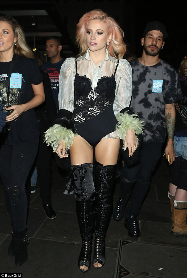 Work it: The singer worked a head-turning look as she arrived to the renowned club