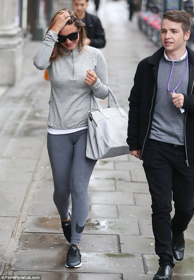 Glad to be back?Clearly not used to the blustery London weather, the star had been seen shielding herself from the wind as she arrived at the Sunday Brunch studio earlier that day
