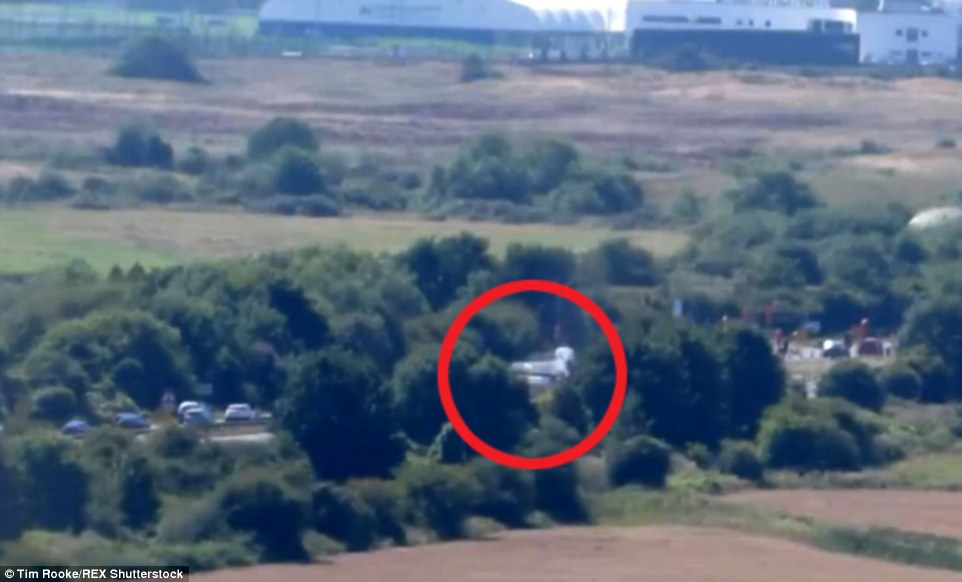 Down: The plane (circled) was seen skimming the trees along the side of the dual carriageway before crashing into several cars