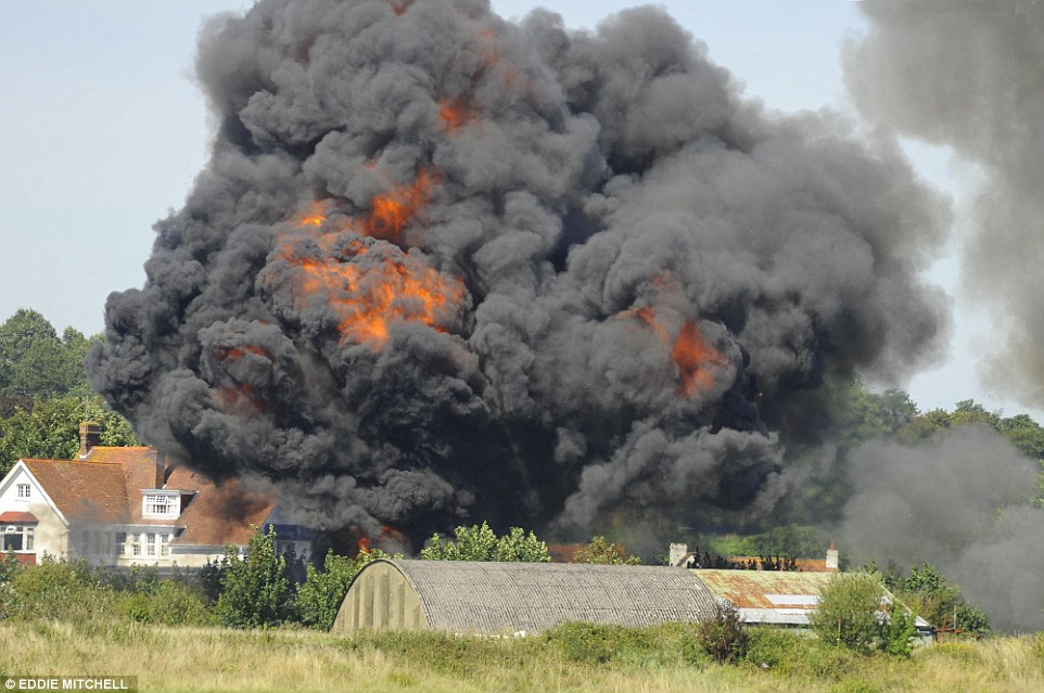 Cloud: Witnesses have described seeing smoke billowing into the sky just moments after the accident as the plane took part in a display