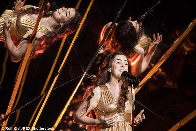 Kaleidoscopic: Lucie was reflected in the mirror behind twice, adding to the drama of the performance ahead of next week's final