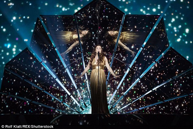 Golden girl: Lucie shone in a gold Grecian-inspired dress on Sunday during rehearsals for the Eurovision Song Contest final in Kiev, Ukraine, on May 13