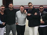 Bluegrass Buddies: Tom Brady (fifth from right) was joined by backup Patriots quarterbacks Jacoby Brissett (second from left) and Jimmy Garoppolo (second from right) on a private jet to Louisville, Kentucky for the 143rd running of the Kentucky Derby on Saturday