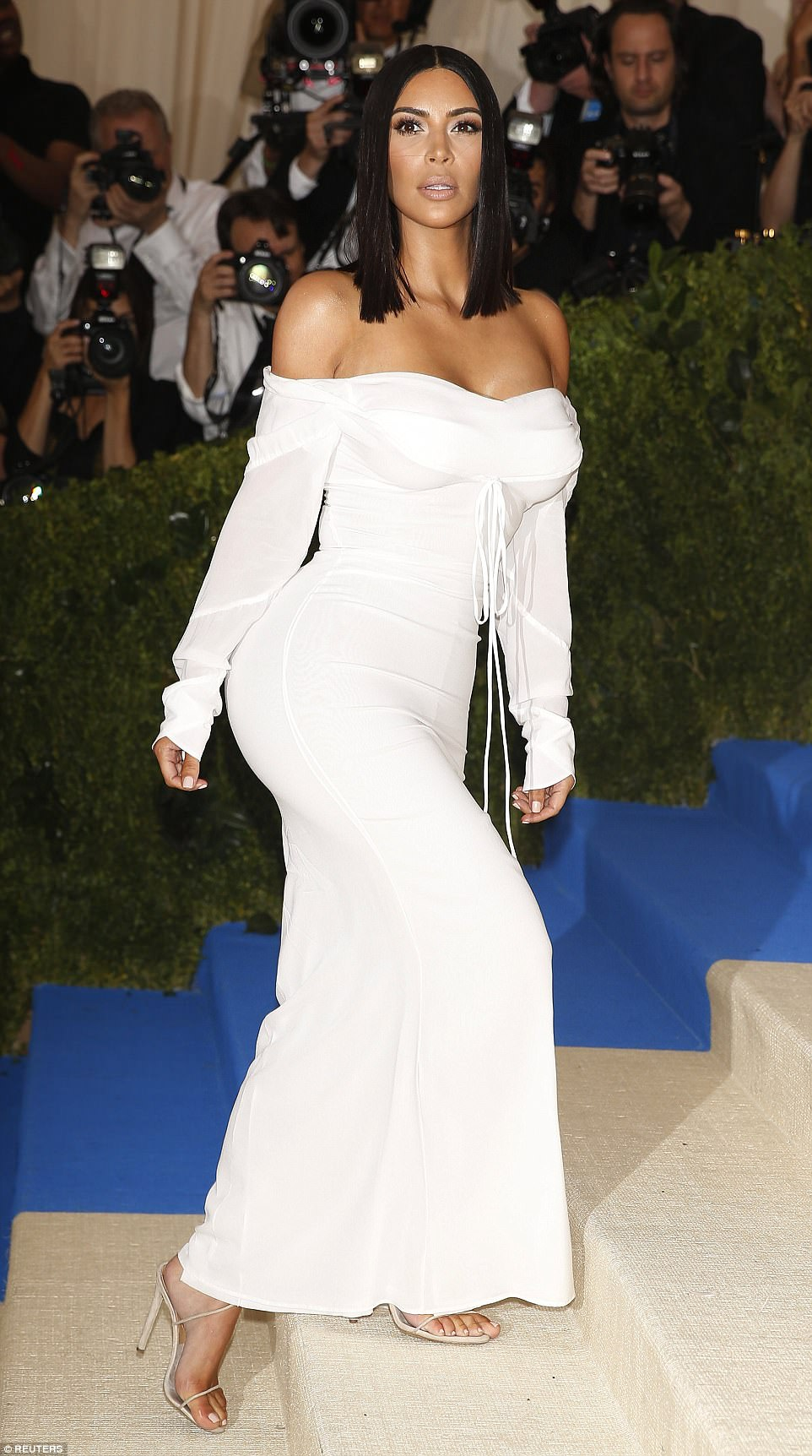 Solo: For the first time since she made her Met Gala debut in 2013, Kim was without husband Kanye West, who chose to stay home in LA rather than deal with the pressure of the event