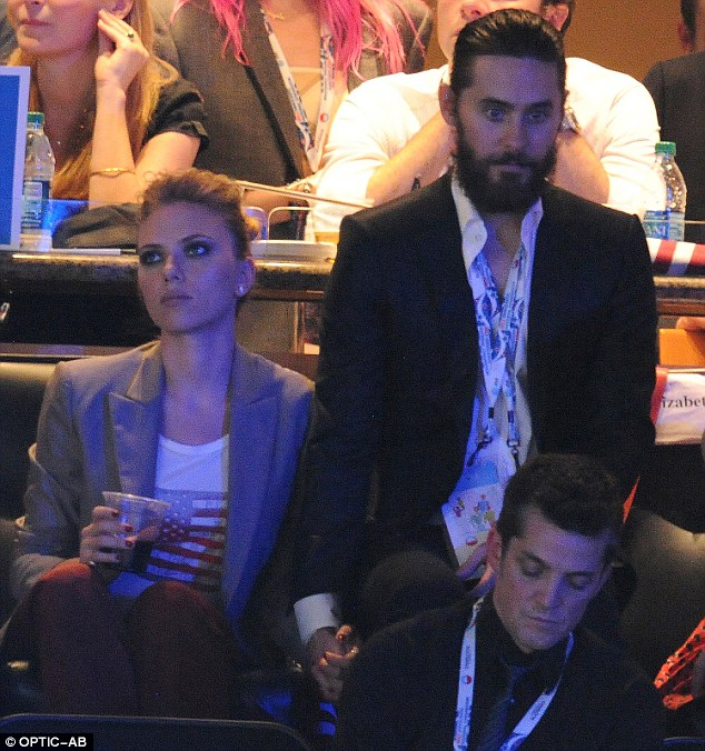 I want to hold your hand: Scarlett Johansson got some moral support from ex-boyfriend Jared Leto at the Democratic National Convention on Thursday evening