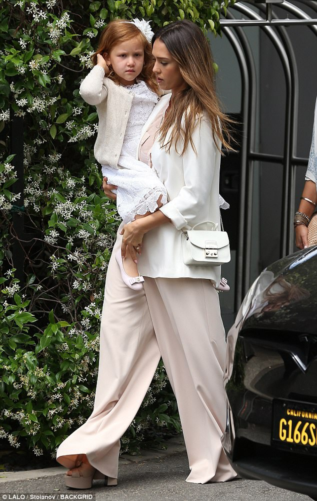 Stepping out: Jessica Alba was spotted leaving her Bel-Air hotel with her family, including daughter Haven, on Mother's Day
