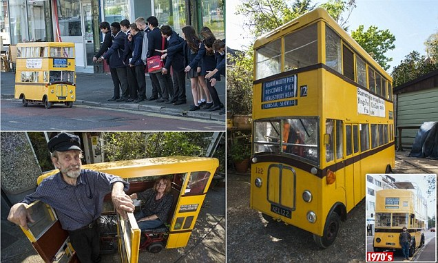 Retired bus driver creates miniature bus in Bournemouth