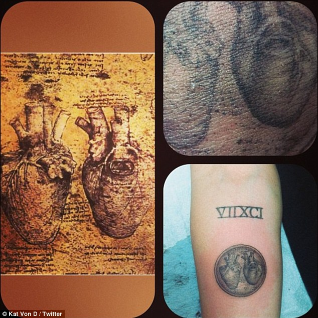 Heart to heart: Kat Von D tweeted a photograph of Miley Cyrus's new anatomical heart tattoo on her forearm on Saturday