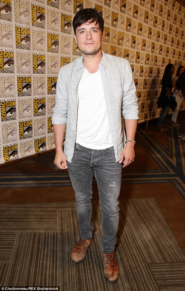 Handsome star: Josh at a Comic-Con presentation of the new Hunger Games film in San Diego