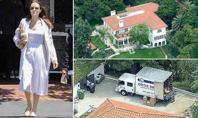 Moving trucks at Angelina Jolie's new $25million mansion