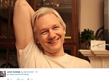 Julian Assange posted this picture of himself in the Ecuadorian Embassy in London today moments after Sweden dropped an investigation in to rape allegations