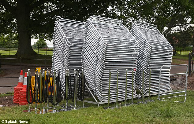 Stacks of barriers, several traffic cones and some velvet ropes were seen stacked outside of the venue in Englefield