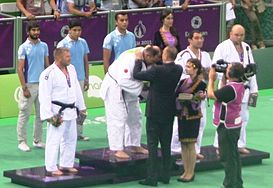 Awarding ceremony of the blind judo men +90 kg of the 2015 European Games 3 cropped.jpg