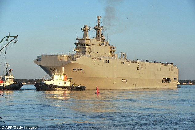 Delays: The first vessel, the Vladivostok (pictured), should have been handed over to Russia in November but French President Francois Hollande has revealed it has now been postponed 'until further notice'