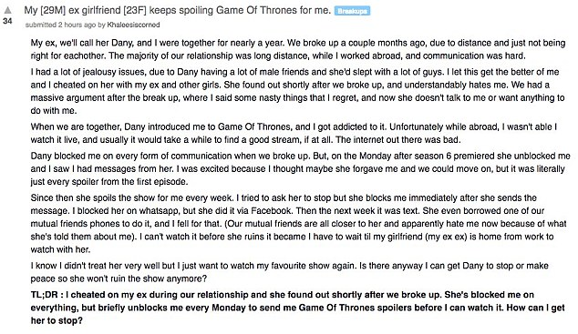 'How can I get her to stop?': He asked Reddit for advice (above) to try and help him get his ex to stop sending the spoilers