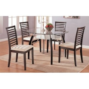 Cappuccino Finish Round Glass Dining Table & Chair Set
