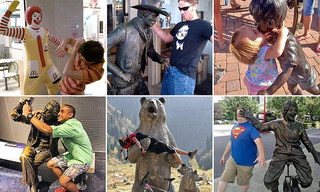 Statues seemingly come to life in photo series