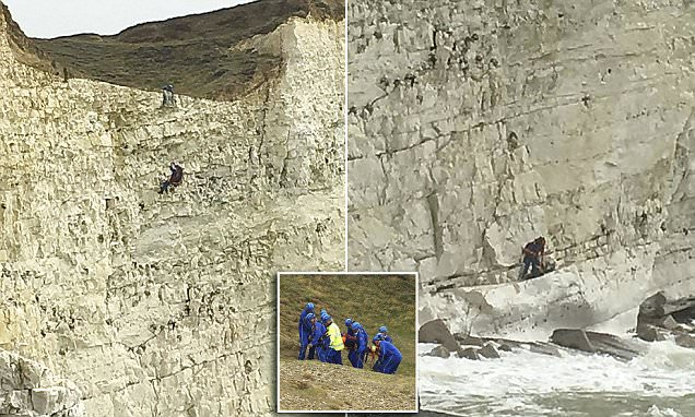 Coastguard abseils to rescue jet skier East Sussex