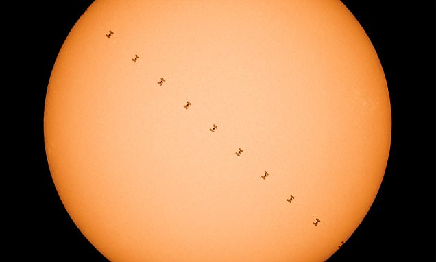 International Space Station crosses the sun's surface