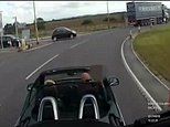 Dashcam footage shows the van driver driving onto a roundabout wherethe A160 and A1077 meet in Ulceby, Lincolnshire