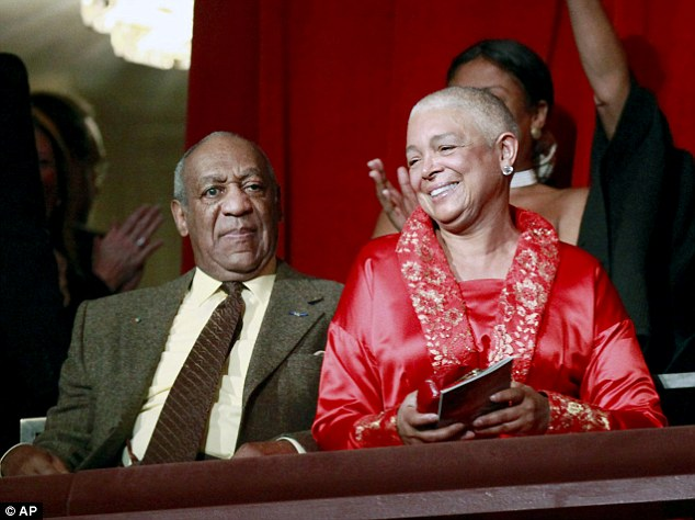 Better half: Cosbyalso spoke about trying to hide the money he paid out to some women from his wife Camille (above in 2009)