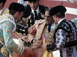 Pictured: Spanish matador Ivan Fandino is carried away after being impaled by a bull