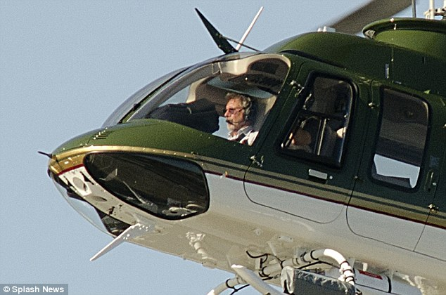 Top gun: Harrison Ford took his helicopter out on Monday in Santa Monica, California