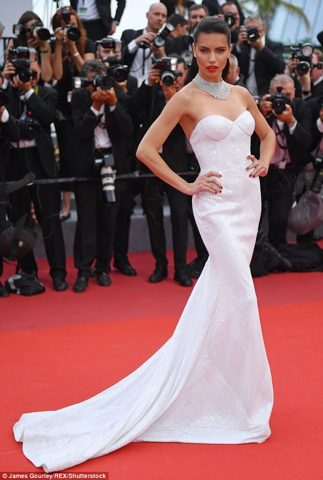 Busty babe:Adriana meanwhile allowed her top half to flash her skin, as the bustier top of the gown boosted her assets before the boned corset nipped in at her waist