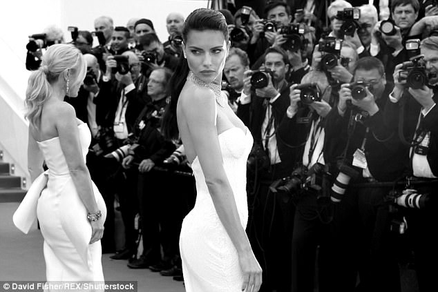 Dazzling: The models smouldered on the red carpet