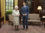 The Queen posed with Canadian Prime Minister Justin Trudeau in Edinburgh, Scotland, this afternoon