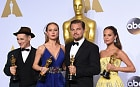 (L-R) Best Supporting Actor Mark Rylance, Best Actress Brie Larson, Best Actor Leonardo DiCaprio and Best Supporting Actress Alicia Vikander pose with their Oscar in the press room during the 88th Oscars in Hollywood