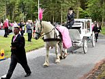 A pink coffin carrying the body of five-year-old Eileidh Paterson was brought by a horse-drawn carriage to Aberdeen Crematorium in the Hazlehead area of the city for her funeral yesterday
