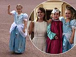 That's some party venue: Harper Beckham holds her balloon at Buckingham Palace. her parents shared the snaps on Instagram on Monday as they wished her a happy sixth birthday, but denied the visit was for the milestone
