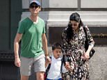 Anthony Weiner and his soon-to-be ex-wife Huma Abedin were seen with their five-year-old son Jordan in New York City on Monday