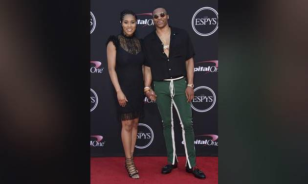 Russell Westbrook and his wife Nina on the red carpetat the ESPYS. Westbrook took home the award forbest male athlete. [AP Photo]