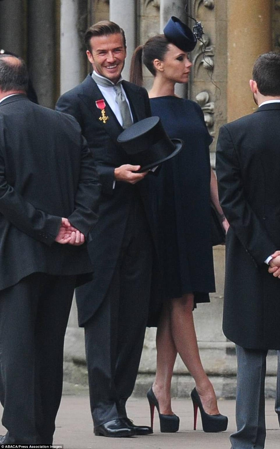 VIP invite: David and Victoria arriving at Westminster Abbey for the wedding of Prince William to Kate Middleton, in London, UK on April 29, 2011