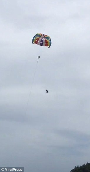 Within moments of being lifted up into the air, he plunged more than 100ft to his death in the shallows below
