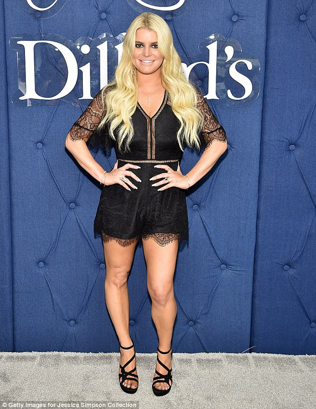 Good humour: Jessica Simpson, 36, poked fun at herself for her famous chicken-tuna question on Sunday; (pictured May)