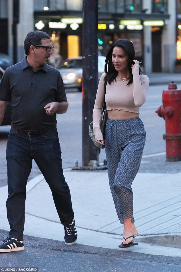 Friendly dinner date: The actress was joined by a male friend as they headed to dinner in Vancouver