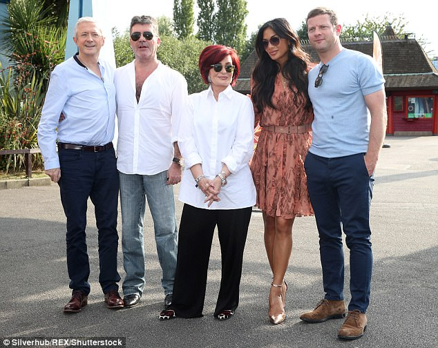 The team: Alongside the Thorpe Park location, Simon Cowell (second left) is said to have put a few things in place to 'shake up' the format for 2018