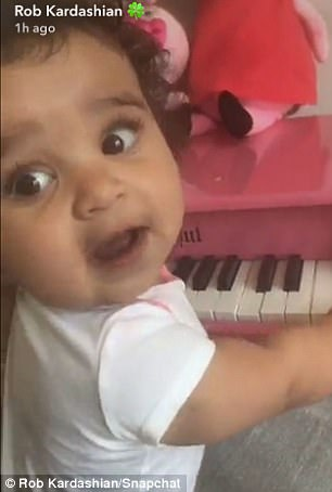 The little one: Rob and Chyna share daughter Dream, seen here in a Snapchat clip from this week